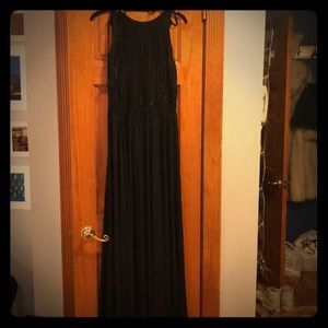 Formal black gown with beaded detailing